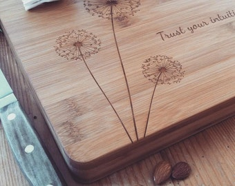 "Personalized Cutting Board, Custom Cutting Board, Chopping Block, ""Dandelions"" w/ Your Names / Text, Unique Wedding Gift, Housewarming Gift"