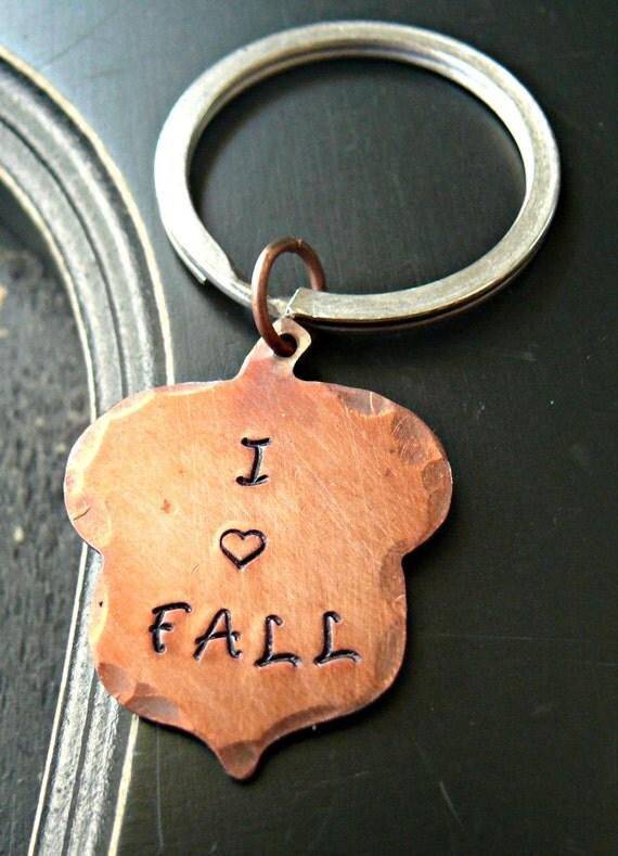 I Love Fall Acorn Keychain