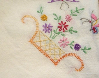 Vintage Hand Embroidered Luncheon Tablecloth Muslin Cotton