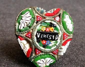 Vintage mini mosaic heart brooch souvenir from Venice. Romantic love gift idea.