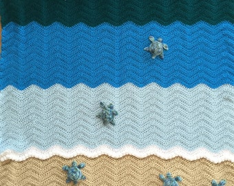 Sea Turtle Blanket, Crochet Crib Blanket, Baby Blanket, Throw