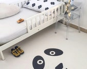 Sweet Panda White Kids Rug / Minimalist Kids Room / Decorative Floor Rug   Bedroom Mat   PVC Rug   Kids Decor / Modern Nursery   Monochrome