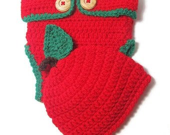 Apple Red Baby Hat and Diaper Cover - Baby Photo Props - Baby Photo Ideas- Infant Hat - Newborn Baby Hat - Diaper Cover - Crocheted Baby Hat