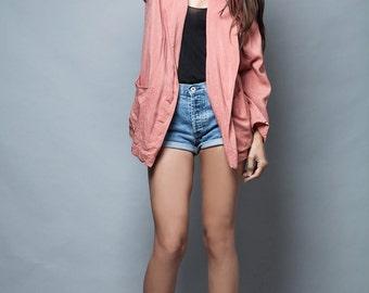 vintage 80s blazer jacket long flowy soft old rose pink oversized L XL 1X