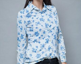 vintage 70s disco polyester hippie boho shirt blouse floral white blue S M SMALL MEDIUM