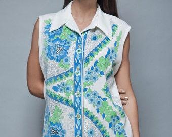 vintage 70s sleeveless blouse top white blue green floral print XL 1X