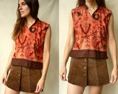 1970's Vintage Indian Embroidered Cotton Top Size S/M