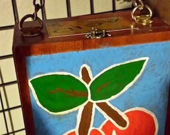 Hand Painted - Cherries - Cigar Box Purse - Purple Lace - Locking Clasp - Cherries Fabric Chain Handle
