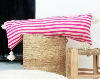Moroccan POM POM Wool Pillow Cover - Extra Long in Pink Stripes