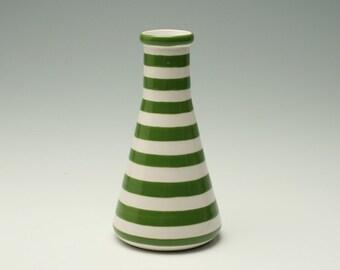 Beaker Pottery Vase, Ceramic Flower Vase, Striped  Flower Vase, Ceramic Beaker Vase, Science Beaker Mod Flower Vase, Green White Stripes