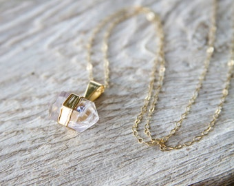Crystal Quartz Double Point Necklace with Gold, Herkimer Diamond Necklace