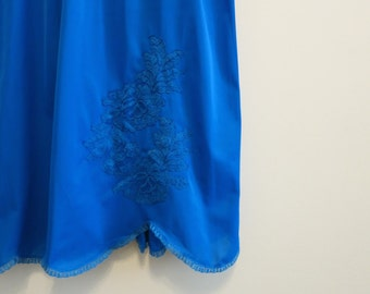 Vanity Fair slip RARE electric blue skirt with lace size S
