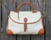 SALE - Vintage Dooney & Bourke Large White Carrier Leather Purse Satchel