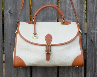 SALE - Vintage Dooney & Bourke Large White Carrier Leather Purse Satchel