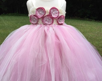 Dusty rose and ivory girls tulle dress, girls pink tulle dress, dusty rose flower girl dress, rose wedding