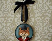 Fox Ornament, Christmas Ornament, Fox Portrait, Fox Hunt,  Equestrian, Portrait Miniature, Wall Art, Fox Art, Fox Lover, Secret Santa Gift,