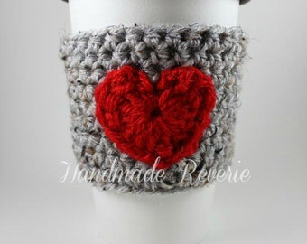 Gray and Red Heart Crochet Cup Cozy Sleeve - ready to ship