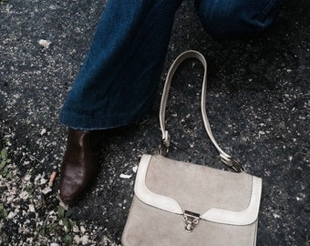 60s Suede Purse with two tone suede and vinyl detail (m)