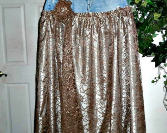 SALE Vintage French lace jean skirt exquisite taupe mocha  bohemian fairy  ballroom Renaissance Denim Couture Made to Order