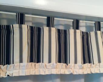 "Blue Stripe   1pc Custom Made Home Decor Rod Pocket Curtain Topper Window Valance  Drapery Treatments 15"" by 54"""