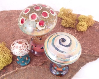 WILD MUSHROOMS Blown Glass Turquoise Gold Lampwork Borosilicate Miniature Curio Cabinet Keepers Desk Sculptures Set of 3  (Free Shipping)