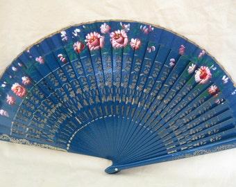 Regency/Victorian Style Fan. Hand painted, Wood. Royal Blue, Red flowers.