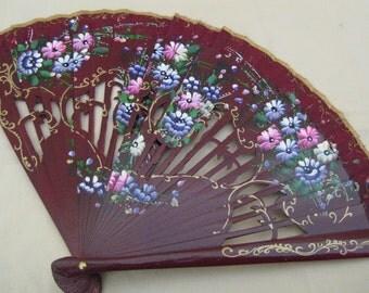 Regency/Victorian Style Fan. Hand painted Wood. Plum. Pastel flowers.