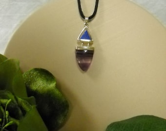 Sterling Silver Pendant with Lapis Triangle and Fluorite Tongue