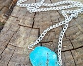 Simple Turquoise Stone Necklace - bohemian jewelry, boho style, turquoise jewelry, tween gift, trending items
