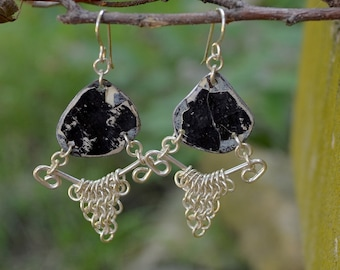 "Upcyced Black Ceiling Tin & Sterling Silver Chainmaille Earrings Combine into ""Salvaged"" Euro 4 in 1 Weave - ReaganJuel: Tin24"