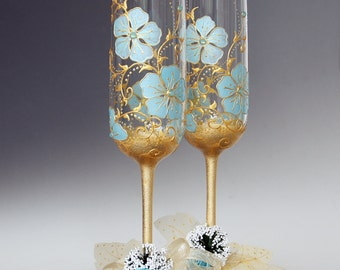 Mint Gold Wedding Glasses, Hand Painted Glasses, Champagne Glasses, Toasting Flutes, Set of 2