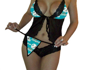 NFL Lingerie Miami Dolphins Sexy Cami Top and Lace Booty Shorts Set Plus FREE Matching G-String Thong Panty CUSTOM sizing