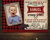 Lumberjack Birthday Invitation, Lumberjack Photo Invite, Printable Lumberjack Invitation, Rustic, Lumberjack Birthday