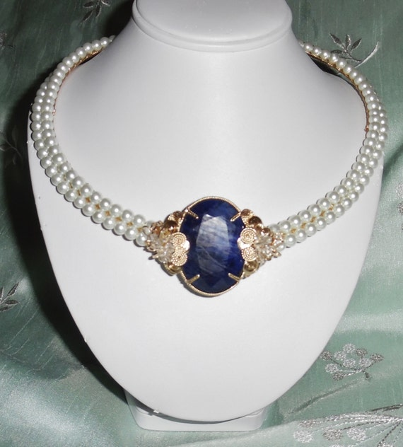 148 ct Lady Diana Natural Blue Sapphire gemstone & Pearls, 14kt yellow gold Necklace