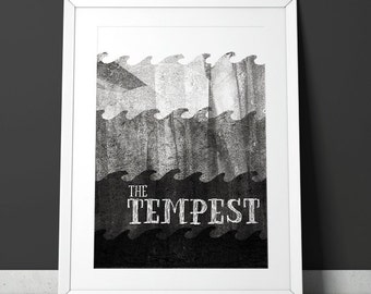 The Tempest Poster - Minimalist, mid-century modern monoprint style Shakespeare play- A4 giclee print