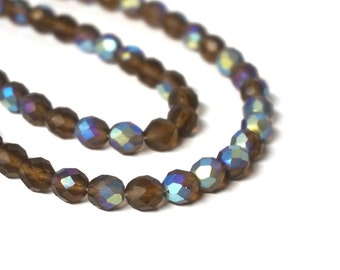 faceted glass beads, 8mm Light Brown Matte Aurora Borealis, full & half strands available (172G)