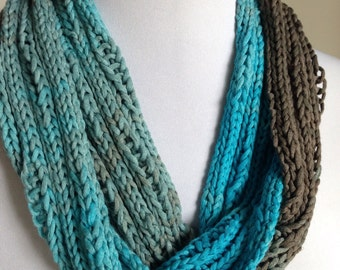 Cotton Infinity Scarf, Hand Knit Cotton Cowl, Seaglass Blue Gradients Scarf, Cotton Knit Scarf