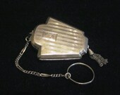 Sterling Silver Compact Purse Foster & Bailey 1900's Dance Purse Powder Compact With Finger Ring