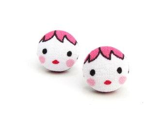 Matryoshka earrings - cute fabric earrings - button earrings - tiny doll babushka - kawaii girl stud earrings - present for her - pink
