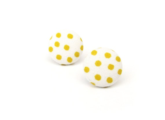 Gift for her - Yellow button earrings - white dots fabric earrings - yellow stud earrings - tiny happy bright