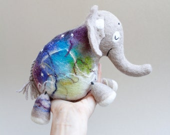 Felt Elephant - Kasi, Art Toy, Felted Animal Stuffed Toy, Felt Toy for kids plush. beige, violet, blue, green. SPECIAL ORDER for Ioana .