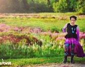 Girl's dip dyed purple hi-low maxi skirt
