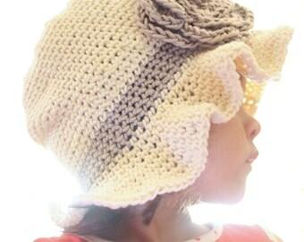 SALE 5T to Teen Sun Flower Hat Rose Crochet Hat - Cream Sun Hat Girl Cloche Prop Photo Prop Gift Costume Photo Prop Gift Baby  Gift