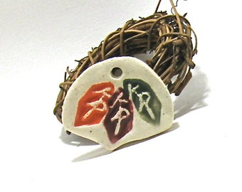 Ceramic Pendant - Orange, Cranberry and Green Leaf Pendant (Hand Carved OOAK Stoneware Focal Pendant, Keychain, Gift Tag, Ceramic Necklace)
