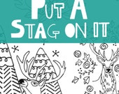 Stag embroidery pdf pattern - 6 stag and deer embroidery designs - antler motif