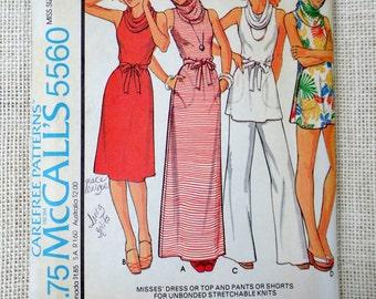 Vintage McCalls 5560 pattern 1970s sewing cowl neck hoodie Boho sweater dress Bust 30.531.5 petite Mod Groovy mini maxi tunic retro Uncut