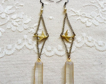 Swooping sparrow bird, chain, and clear acrylic drop earrings, pearl accent, long earrings, Catch the Wind