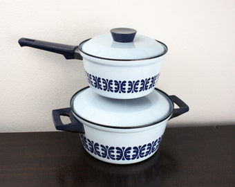 Vintage Light Blue Cathrineholm Dutch Oven and Sauce Pan Set With Navy Pattern,  Vintage Enamelware Pans With Lid and Handles, Norway