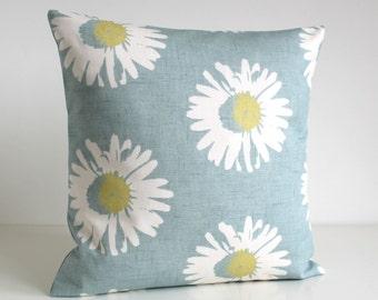 Pillow Cover, Duck Egg Pillow Sham, Duck Egg Cushion Cover, Decorative Pillow Cover, Pillowcase, Sofa Pillow Cover - Daisies Duck Egg