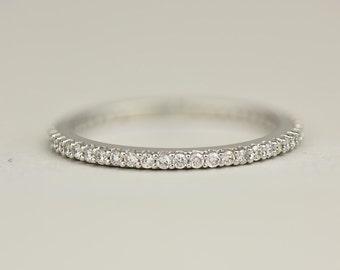 Thin Eternity Ring - 14k, 18k Solid White Gold Full Diamond Eternity Band. Weddings & Anniversaries. Custom Jewelry Made to Order